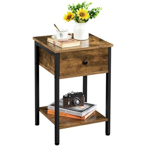 Nightstand Bedside Table, Sofa Side Table Simple Rustic End Table with 1 Drawer and Open Shelf, for Living room/Bedroom/Office, 40cm x 40cm x 61cm, Rustic Brown