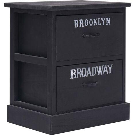 Nightstand Black 38x28x45 cm Paulownia Wood - Black