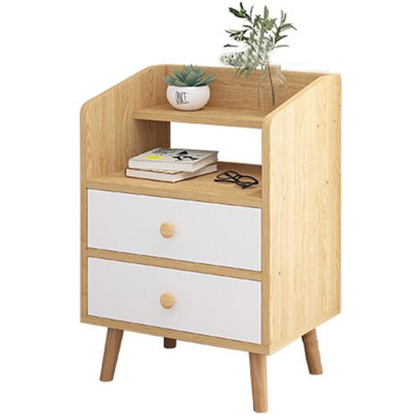 Nightstand End Table Storage Wood Side Bedside Organizer W/2 Drawers 37x30x60cm