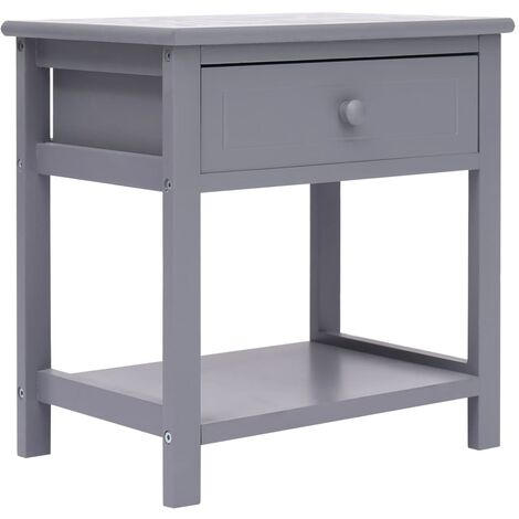 Nightstand Grey 40x29x42 cm Paulownia Wood