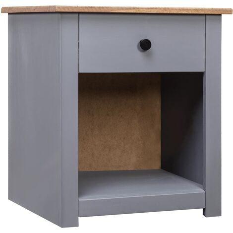 Nightstand Grey 46x40x57 cm Solid Pinewood Panama Range