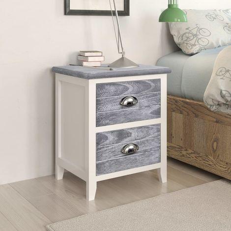 Nightstand Grey and White 38x28x45 cm Paulownia Wood
