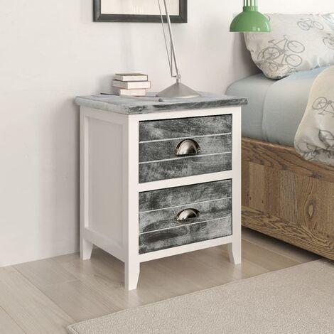 Nightstand Grey and White 38x28x45 cm Paulownia Wood - Grey