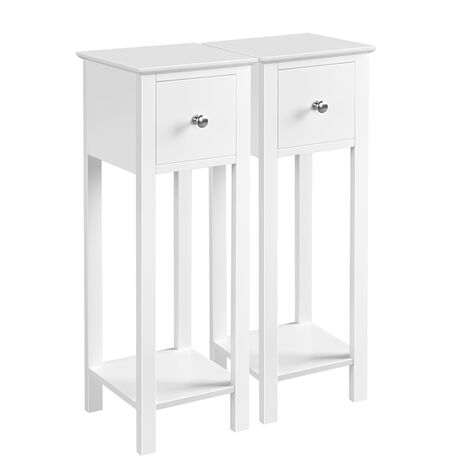 Nightstand Set of 2 Bedside Tables with Drawer Slim Tall Telephone End Table Narrow Hallway Side Table, Wooden, White, 25.00 x 25.00 x 70.00 cm