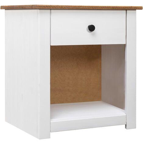 Nightstand White 46x40x57 cm Solid Pinewood Panama Range