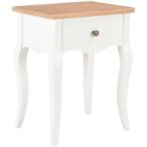 Nightstand White and Brown 40x30x50 cm Solid Pine Wood