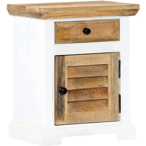 Nightstand White and Brown 40x30x50 cm Solid Rough Mango Wood