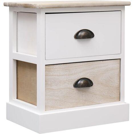 Nightstand White and Natural 38x28x45 cm Paulownia Wood - White