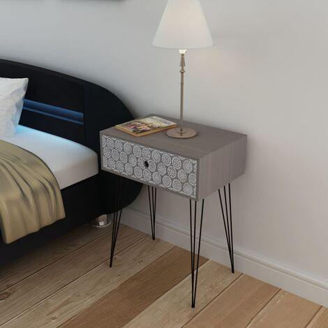 Nightstand with 1 Drawer Rectangular Grey - Grey