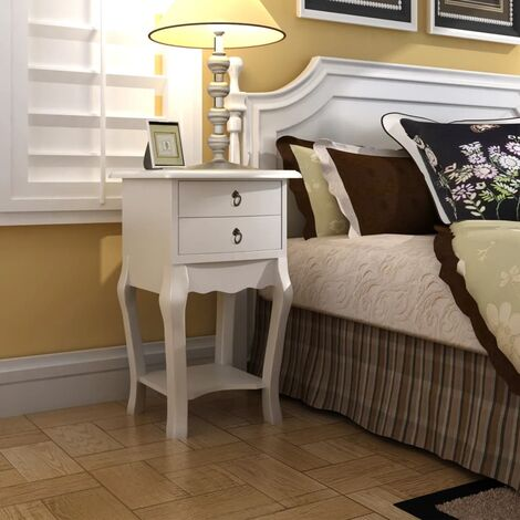 Nightstand with 2 Drawers White