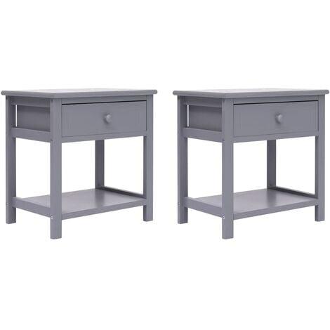 Nightstands 2 pcs Grey 40x29x42 cm Paulownia Wood - Grey
