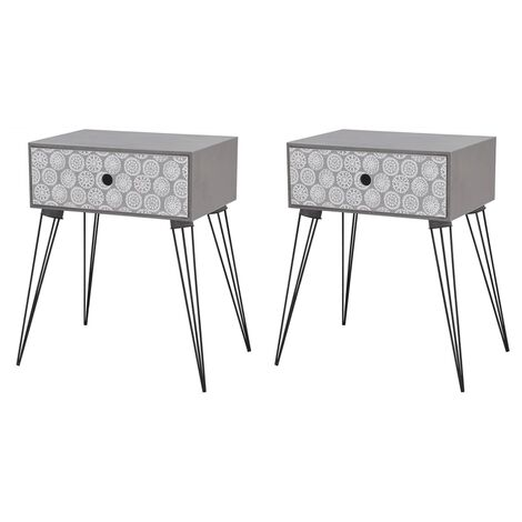 Nightstands with Drawer 2 pcs Grey