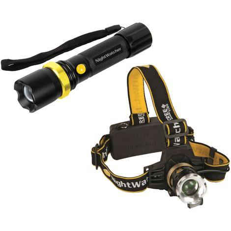 NightWatcher CREE LED Rechargeable Torch and Head Torch Gift Set