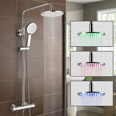 Niki Slim LED Over Head Rainfall Shower Thermostatic Control with Hand Held