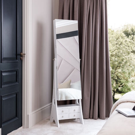 Nikita White Standing Full-Length Mirror Jewellery Cabinet with Internal LED Lights 6 Drawers