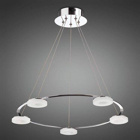 Nimbus pendant light 5 Bulbs 25W LED 3000K, 2200lm, polished chrome / frosted acrylic