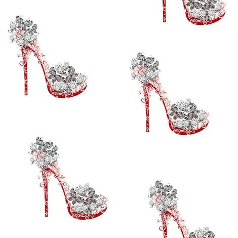 """main image of """"Nina Home Wallpaper Red Black Shoe Stiletto Butterfly White High Heel"""""""