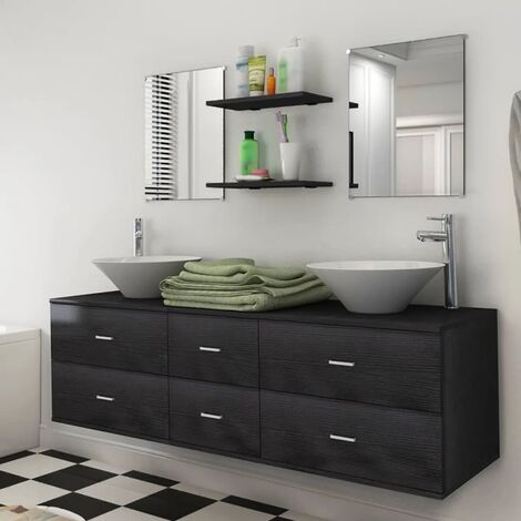Nine Piece Bathroom Furniture Set with Basin with Tap Black