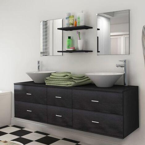 Nine Piece Bathroom Furniture Set with Basin with Tap Black - Black