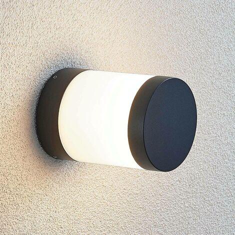 Nitalia LED pillar light, round, dark grey