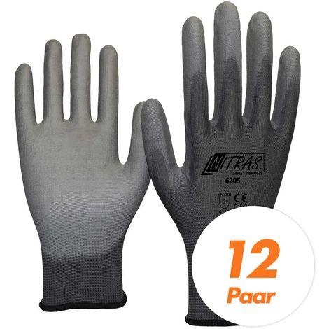 NITRAS Nitras 6205 Nylon Strickhandschuh grau - VPE 12 Paar - mit PU-Beschichtung auf Innenhand und Fingerkuppen