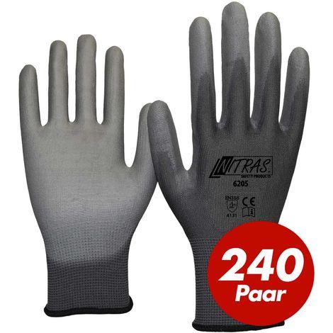 NITRAS Nitras 6205 Nylon Strickhandschuh grau - VPE 240 Paar - mit PU-Beschichtung auf Innenhand und Fingerkuppen
