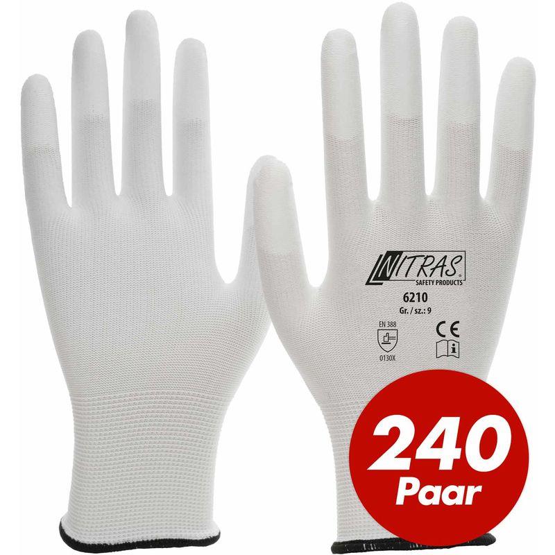 NITRAS Nylon-Handschuhe 6210 Arbeitshandschuhe Gartenhandschuhe PU-Fingerkuppenbeschichtung - 240 Paar - Größe:9