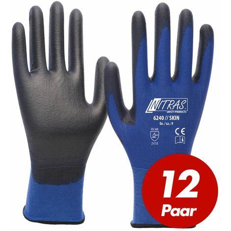 NITRAS NITRAS 6240 Skin Nylon-Strickhandschuhe mit PU-Beschichtung, Feinmontage, Touchscreen geeignet - 12 Paar
