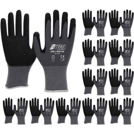 NITRAS NITRAS 8700 Skin-Flex Strickhandschuh mit schwarzer Spezialbeschichtung für Feinmontage - VPE 12 Paar