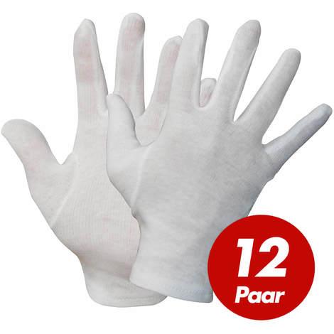 NITRAS NITRAS Baumwoll Trikot-Handschuhe 531x - Unterziehhandschuhe weiß, Handschuhe fusselfrei - VPE 12 Paar