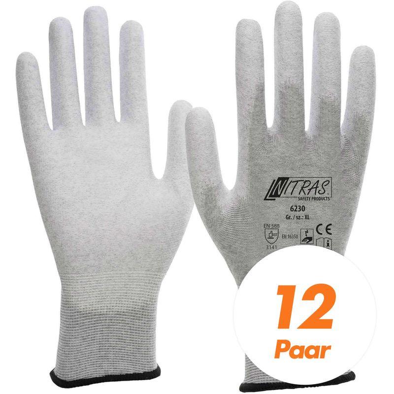 Image of NITRAS ESD-Handschuhe, Schutzhandschuhe 6230 antistatisch, Touchscreen-Handschuhe - VPE 12 Paar - Größe:8