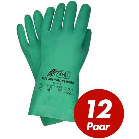 NITRAS NITRAS Green Barrier 3450 Nitrilhandschuhe Schutzhandschuhe Chemikalienschutz velourisiert grün VPE 12 Paar