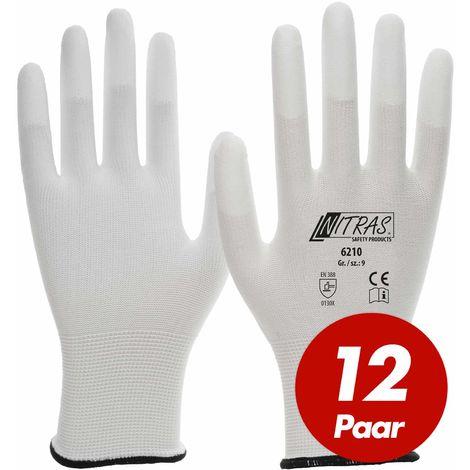 NITRAS NITRAS Nylon-Handschuhe 6210 Arbeitshandschuhe Gartenhandschuhe PU-Fingerkuppenbeschichtung - 12 Paar
