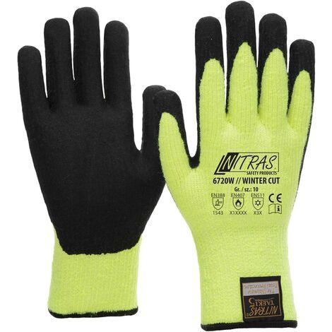 NITRAS NITRAS Winter-Cut Handschuhe TAEKI5 6720W - neon-gelb Latexbeschichtung, Schnittschutz, Kälteschutz, Kontakthitzebeständig