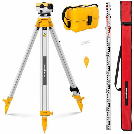 Niveau de chantier avec trépied et mire grossissement 24x objectif 36 mm écart 2 mm compensateur à amortissement pneumatique - Or