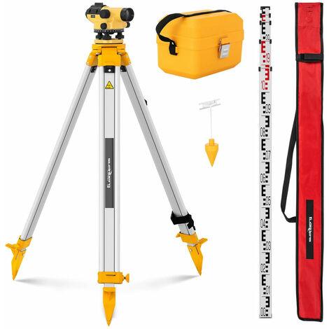 Niveau de chantier avec trépied et mire grossissement 32x objectif 38 mm écart 1 mm compensateur à amortissement magnétique - Or