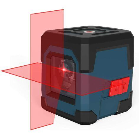 Niveau Laser Autonivelant, Laser Croix 15M ± 0,2 mm/m, 360° Rotatif Ligne Laser Rouge Horizontal et Verticale IP54 étanche avec étui de Protection et 2*AA Piles - LV1