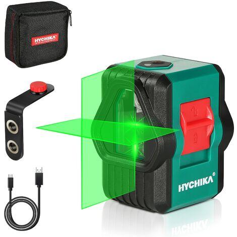 Niveau Laser, HYCHIKA 30M Autonivelant Niveau Laser Vert pour L'extérieur, Deux Modules, Ligne Croix/Horizontale/Verticale, USB Rechargeable, Support Magnétique, Étui de Protection