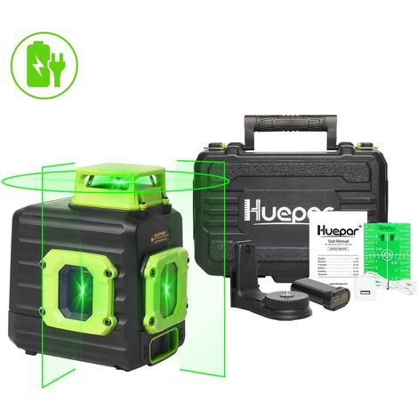 Niveau Laser Multi-lignes avec Batterie Li-ion Rechargeable Huepar B21CG