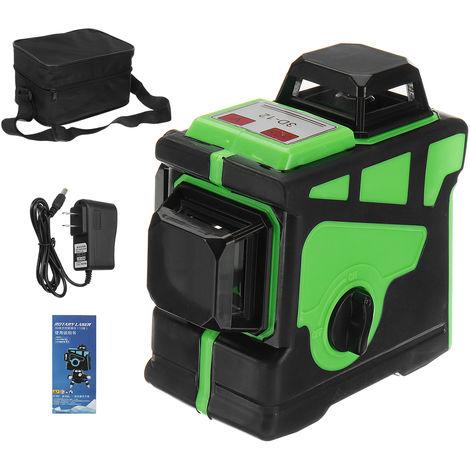 Niveau Laser professionnel ligne verte 360 degrés 12Line 3D 7MM outil de mesure Laser portable coque verte vert Niveau laser américain uniquement