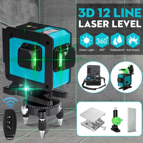 Niveau laser vert à 12 lignes autonivelant 3D rotatif 360 °