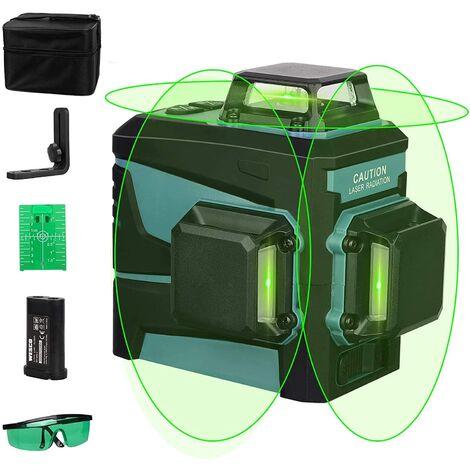 Niveau laser, WESCO 12 Lignes de Nivellement Automatique, 3 x 360 Ligne Transversale Horizontale et Verticale Ligne de Faisceau Laser Vert avec Mode Manuel et Automatique, Li-ion Batterie/WS8912K