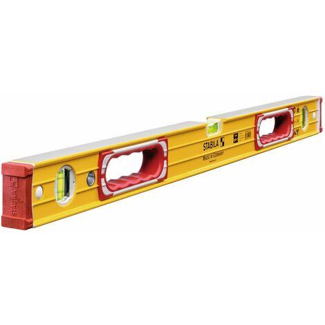 Niveau rectangulaire long.:100 cm avec deux semellesusinées,embouts amovibles anti
