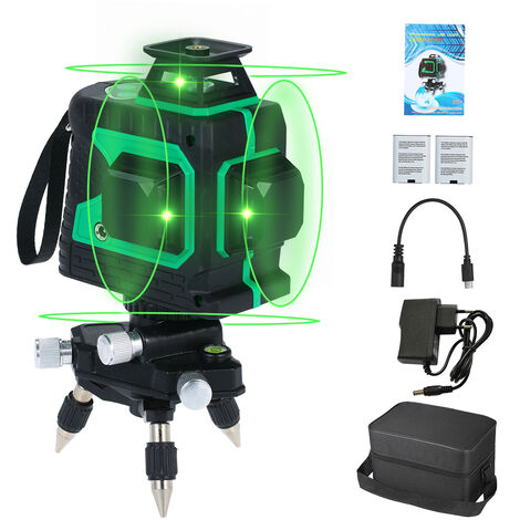 Nivel laser, 12 lineas, nivelacion automatica,Rayo laser verde