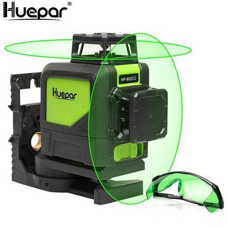 Nivel láser semi profesional autonivelante - Huepar 902CG Láser Línea cruzada Láser Cobertura de 360 grados Línea horizontal y Línea vertical, los modos de pulso permiten el uso