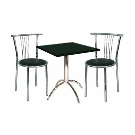 Nixew Small Square Black Kitchen Dining Table Set Chrome Frame With 2 Chairs