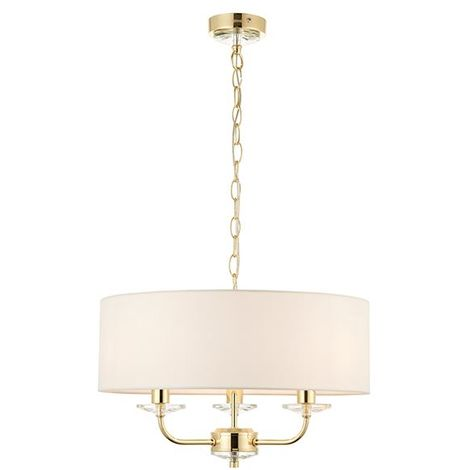 Nixon 3 Light Ceiling Pendant Is Finished In Brass Plate & Fabric Drum Shade