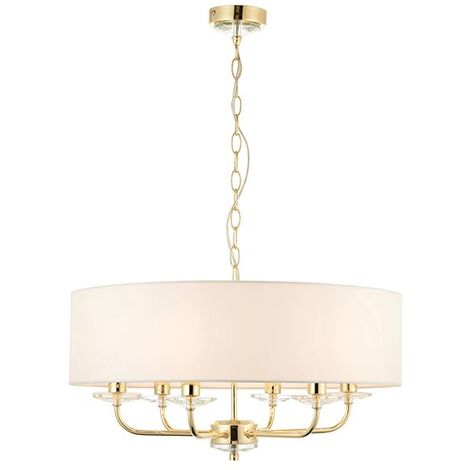 Nixon 6 Light Ceiling Pendant Brass Finish And Fabric Round Drum Shade