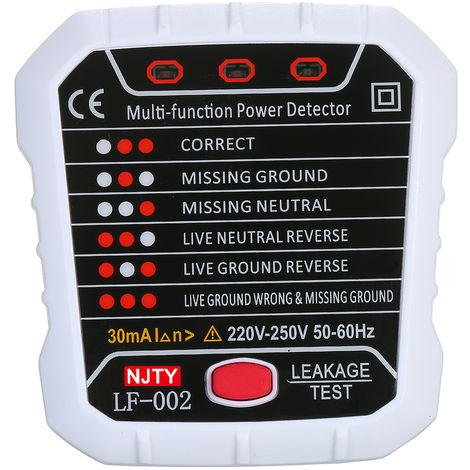 Njty Avancee Rcd Electrique Testeur De Prise Automatique Neutre En Direct Terre Circuit De Fil D'Essai Polarite Detecteur De Mur Eu Plug Disjoncteur Finder Electrique Essai D'Etancheite 30Ma 220 V ~ 250V 50 ~ 60Hz