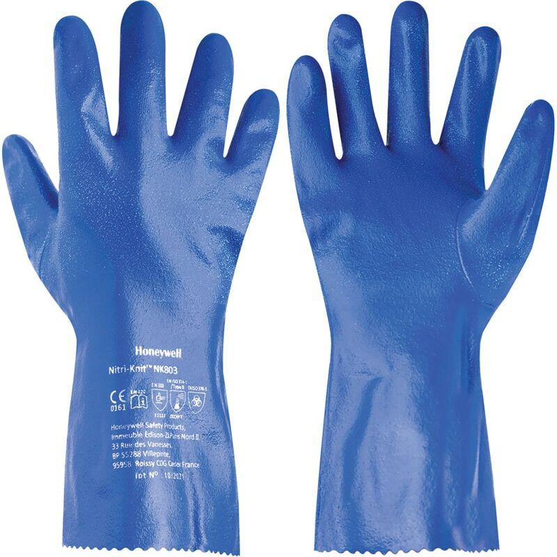 Image of NK803 Nitri-Knit Blue Nitrile Gloves - Size 10 - Honeywell North